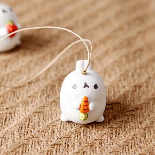 Оригинальные ручной работы милые маленькие уши мультфильм Кролик ветер колокол украшения автомобиля творческий висит ювелирные изделия колокол кулон.