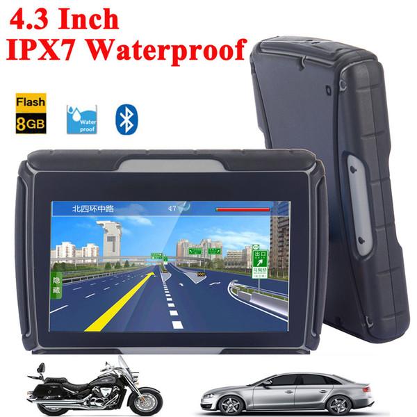 Qualität 4,3 Zoll Motorrad GPS Auto GPS Navigation IPX7 Wasserdicht 8 GB Interner Memroy Bluetooth BT Mit Karten Kostenloser Versand
