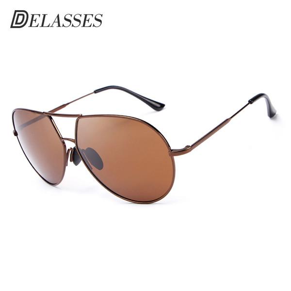 DELASSES Vintage Brand Designer Men Sunglasses Alloy Frame Oculos De Sol Polarized Mirrored Lens Protection Sun Glasses For Men