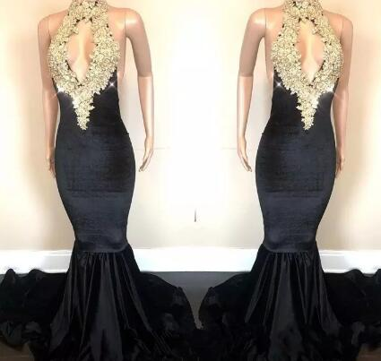 Sexy Open Back Sparkling Gold Sequins Appliques Prom Dresses Mermaid Halter Neck Keyhole Front Long Evening Gowns BA8429