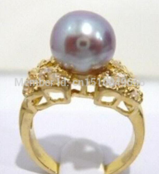FREE SHIP >>Purple Pearl Crystal Butterfly Ring size:6.7.8.9