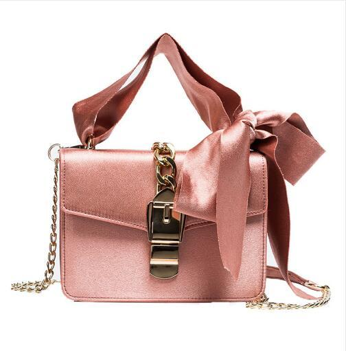 Luxury Messenger Bags Women Bowknot Chains Flap Bag Ladies Fashion Solid Color Hasp Shoulder Bags Female Shopping Phone Bag Girl