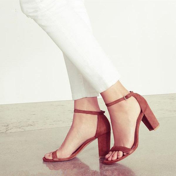Red Blue Faux Suede High Heels Gladiator Sandals Kim Kardashian Style Ankle Buckle Strap Women Pumps Open Toe Block Heels Women Party Shoes