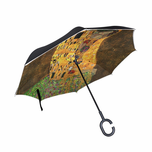 Gustav Klimt The Kiss Oil Painting Reverse Umbrella Straight Male and Female Sunny Umbrellas can Stand Long Handle Business Car