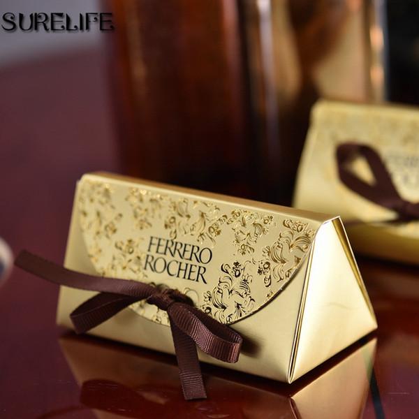 Free shipping 100pcs Gold Wedding candy box gift box creative sugar sugar bag 2 wedding classic gift bag Ferrero Rocher boxed gold particle