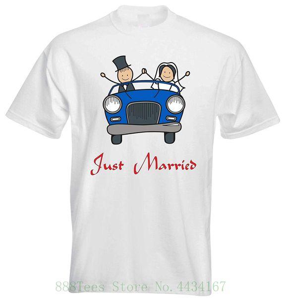 Just Married Classic Vintage blu Car Bride Groom Wedding Couple Mens T Shirt Mens Mens Tee retrò