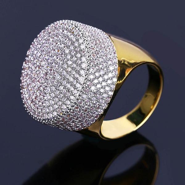 Mens Hip Hop Or Anneaux Bijoux De Mode Glacé Sur Anneaux Haute Qualité Gemstone Simulation Diamant Anneaux Pour Hommes