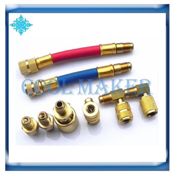 Adattatore per raccordi del refrigerante per condizionatori d'aria automatici Connettore per collettore Convertitore per ottone R134a R12 Set di tubi flessibili