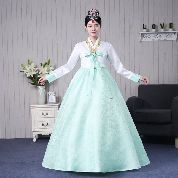 Hot Sale 2017 White Jacket Green Skirts Long Sleeve Bow Stage Dance Performance Long Dresses Traditional Korean Hanbok Costume