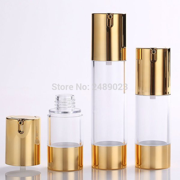 Gold 15ml 30ml 50ml Airless Pump with Clear Body Bottle By Self Empty Reusable Refillable Diy Skin Care Creations 10pcs/lot