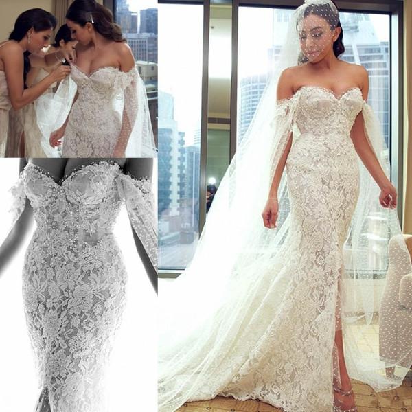 2018 Full Lace Bohemian Mermaid Wedding Dresses With Wrap Side Split Off Shoulder Beaded Long Beach Garden Boho Bridal Gowns Customized