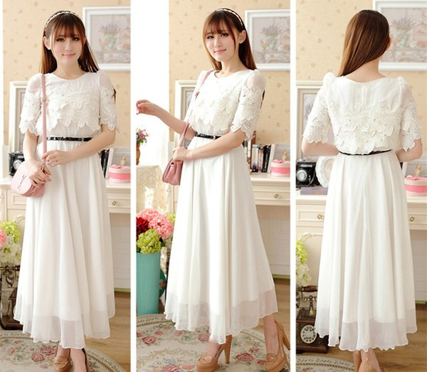 White With Belt New Summer Wear Lace Chiffon Sweet Fat Dress Bohemian Dress Beach Casual Maxi Dress Slim Skirt A0010