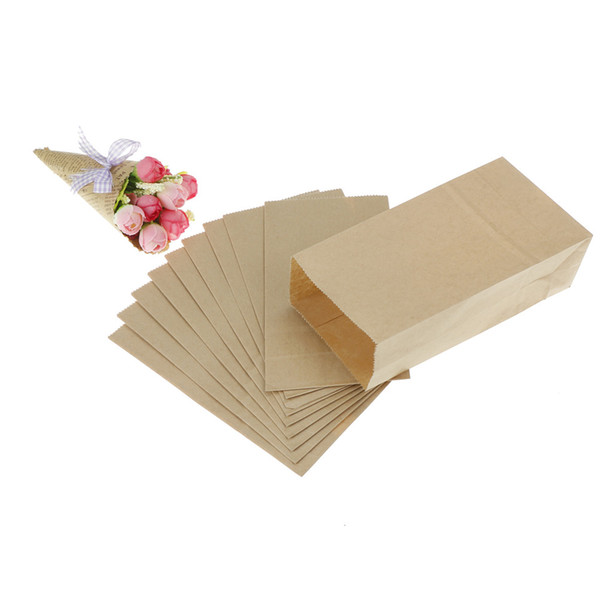 10pcs Brown Kraft Paper Bags Biscuits Packaging Wrapping Supplies for Party Wedding Favors Handmade Bread Cookies Gift