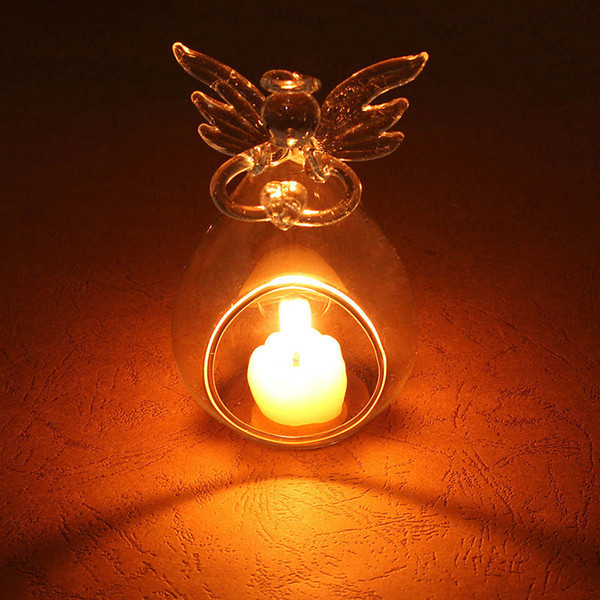 Hot Angel Glass Crystal Hanging Tea Light Candle Holder Home Decor Candlestick Glass Candle Holders Hanger