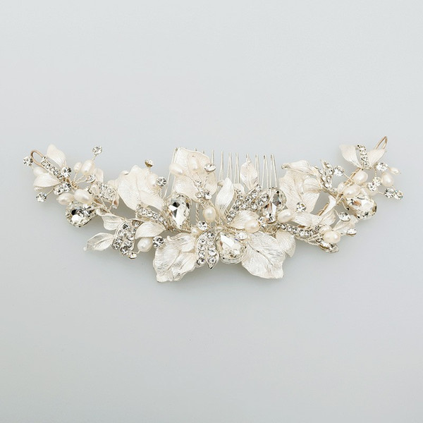 Hand wired Freshwater Pearls Women Hair Jewelry Bridal Comb Silver Leaf Headpiece Fashion Wedding Hair Crown Accessories