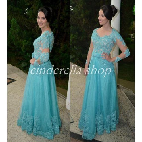 Turquoise Long Sleeve Mother Of The Bride Dress V Neck Floor Length Appliques Sequins Women Prom Party Gowns Wedding Guest Dress Plus Size