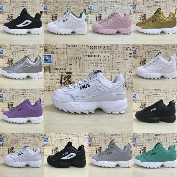 2019 FILA DISRUPTOR 2 Leather Casual Sneakers For Men Women Fashion Silver Gold Green Grey Purple White Outdoor Running Shoes 36 44 From Journeys,