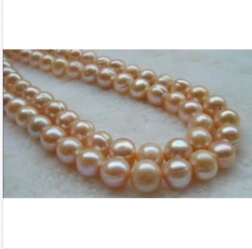 """AAA 12-11mm south sea natural baroque pink pearl necklace 35"""" white flower clasp"""
