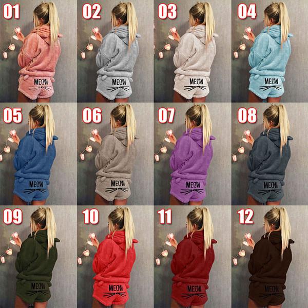 Outono Inverno Conjunto de Duas Peças Pijama das Mulheres Quente Coral De Veludo Terno 2018 Novo Sleepwear Padrão Bonito Gato Hoodies Shorts Out Fit LC947