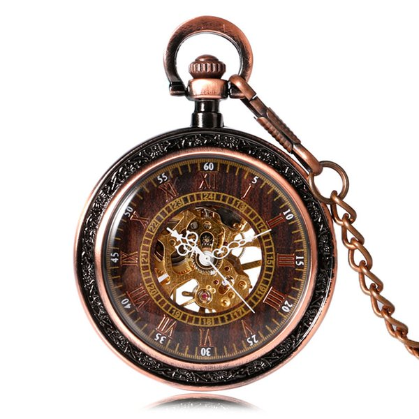 Vintage Mechanical Pocket Watch Antique Skeleton Face Copper Case Fob Chain Retro Pendant Clock Elegant Gifts for Family Friends