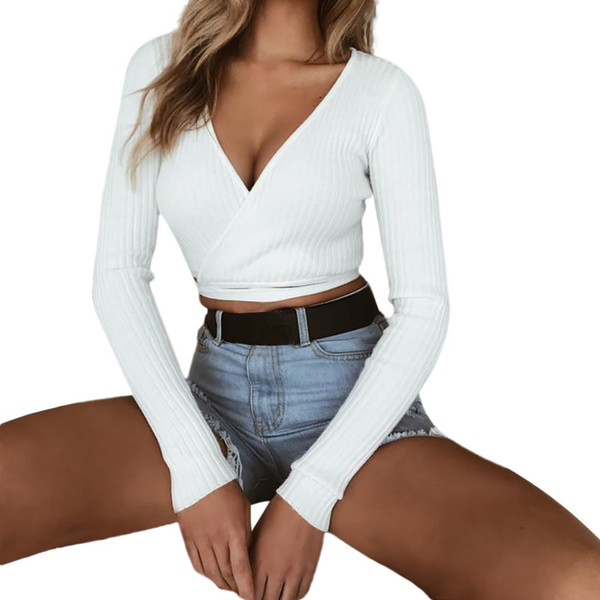 Womail Women Shirts 2018 Sexy Deep V Neck Long Sleeve Solid Bandage Crop Tops Short Shirt chemise mujer Drop Shipping 9.JULY.21