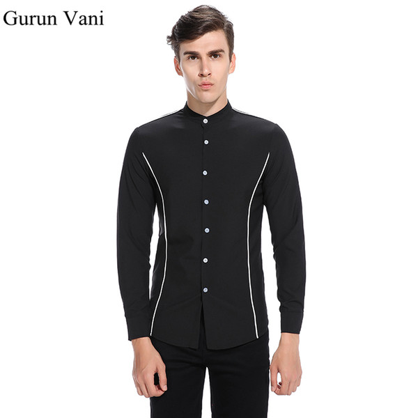 Henry Collar Design Men's Long Sleeve Shirt Pure Color Style Mens Party Dress Shirt Man Personality Male Brand Clothing