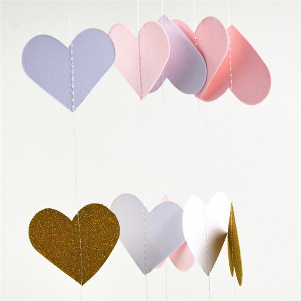 3m Sweat Heart Glitter Paper Ghirlanda Romantic Love Shape Hanging Ornament Wreaths Wedding Decor per il compleanno Parete decorativa