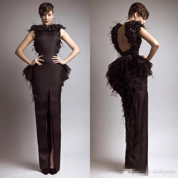 Vintage Formal Krikor Jabotian Black Evening Dresses with Feather Satin Sheath Backless Front Split Party Gown Cap Sleeves Prom Dress