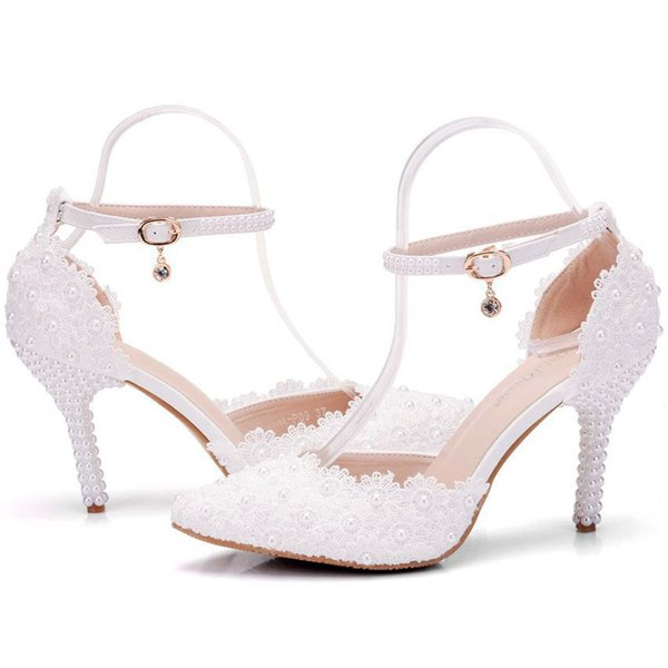 New spring elegant pointed toe shoes for women White lace high heel wedding shoes thick heels Beautiful pearls Plus Size Shoes