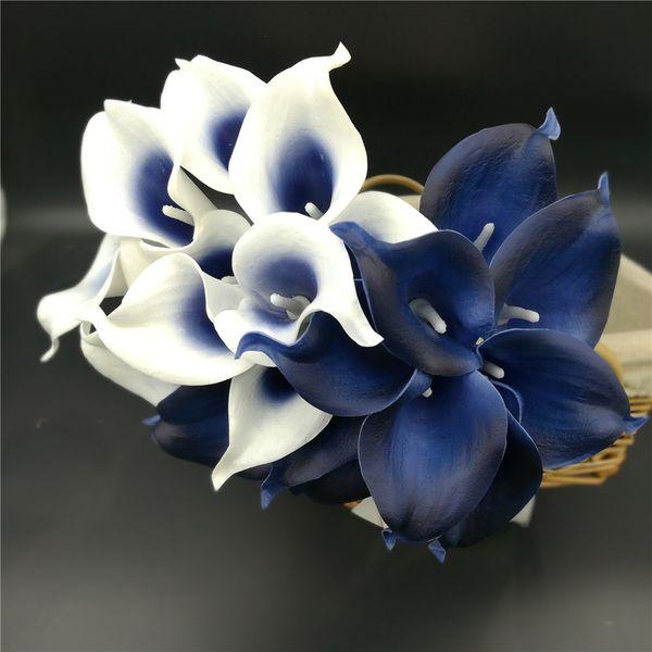 New Hot Décoration Fleurs Bleu marine Picasso Calla Lilies Real Touch Fleurs Pour Bouquets De Mariage Centres de table