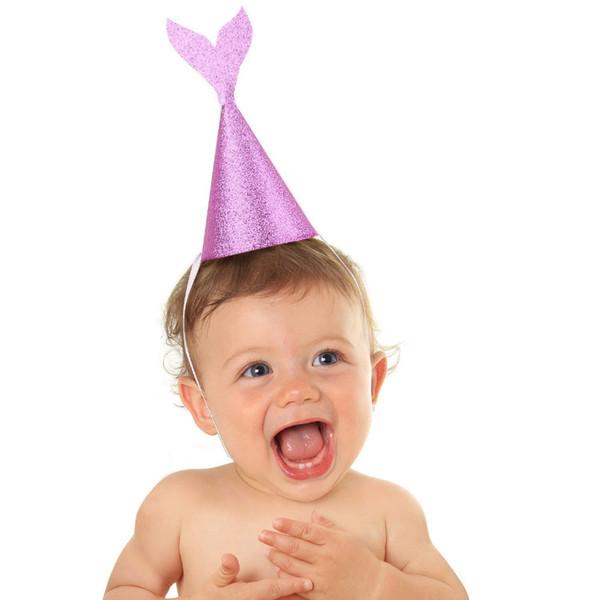 12 Pcs/lot Lovely Girl's Mermaid Party Supplies Glitter Cardboard Birthday Hat Headband Under the Sea Birthday Party Decoration