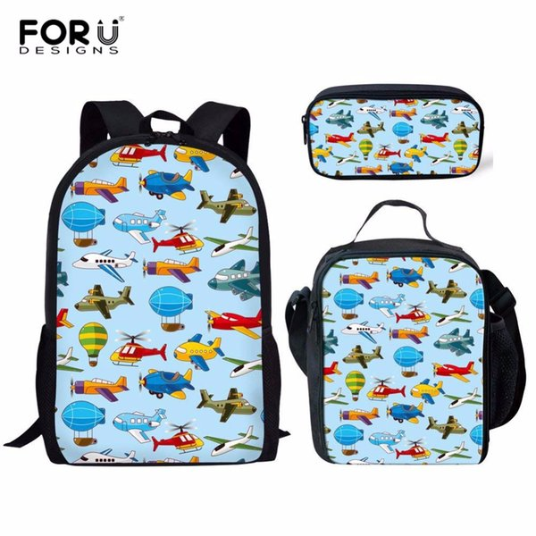 FORUDESIGNS Aircraft Toy Printing Backpack Women School Bags for Teenage Girls Cute Bag Set Travel Backpacks Female Travel Bag