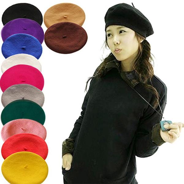 2018 Cheap Fashion New Women Wool Solid Color Beret Female Bonnet Caps Winter All Matched Warm Walking Hat Cap 16 Color