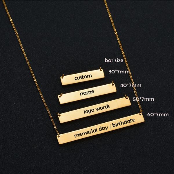 Großhandel Ganze Sale30 * 7mm Gold Farbe Bar Custom Eingraviert Name ...