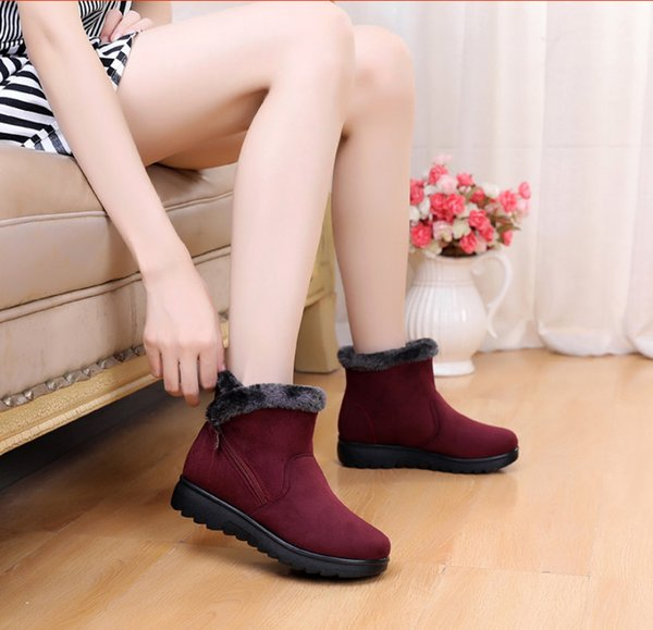 Women Ankle Boots New Fashion Faux Fur Snow Waterproof Wedge Platform Winter Warm boot suede flat zipper Boots Shoes For Female