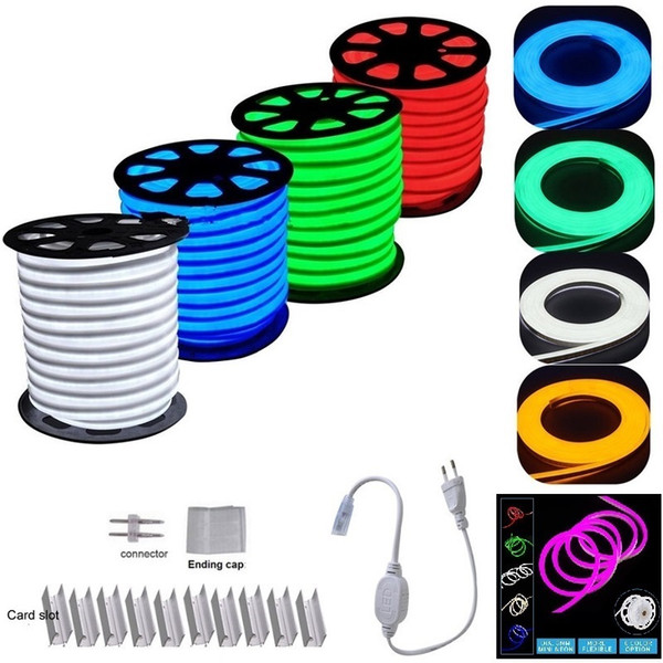 Neon LED Strip Flex Rope Light Waterproof IP68 Mini LED Tape 220V 110V TV Dimmer Flexible Ribbon For Outdoor Lighting
