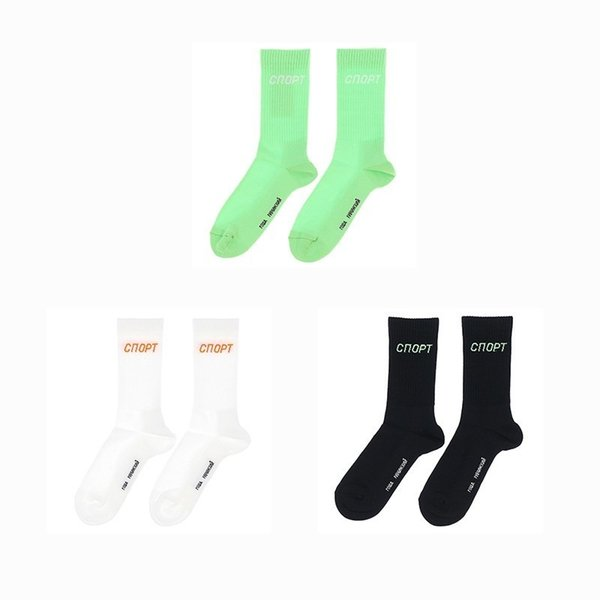 18FW Gosha18ss Russian Fluorescent Font Cotton Comfortable Breathable Short Socks Man And Woman High Quality Fashion Socks HFBYWZ037