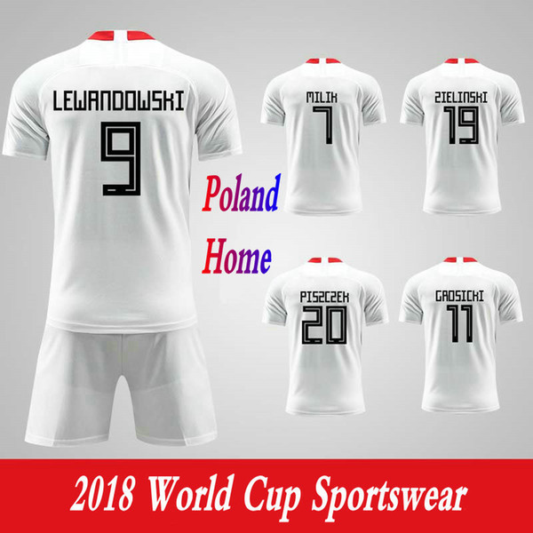 Men Clothing Tracksuits Poland National Team Home Football Sport Suits 2018 World Cup Soccer Uniform Clothes Shorts