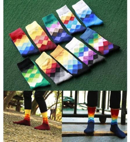 2018 10 colors Men's socks British Style Plaid calcetines Gradient Color brand elite long cotton for happy men wholesale socks