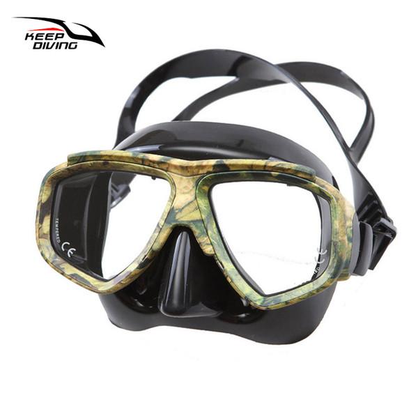 Mantieni l'immersione professionale Disguise Camouflage Scuba Dive Mask Myopic Lenti ottiche Snorkeling Gear Pesca subacquea Miopia Occhiali