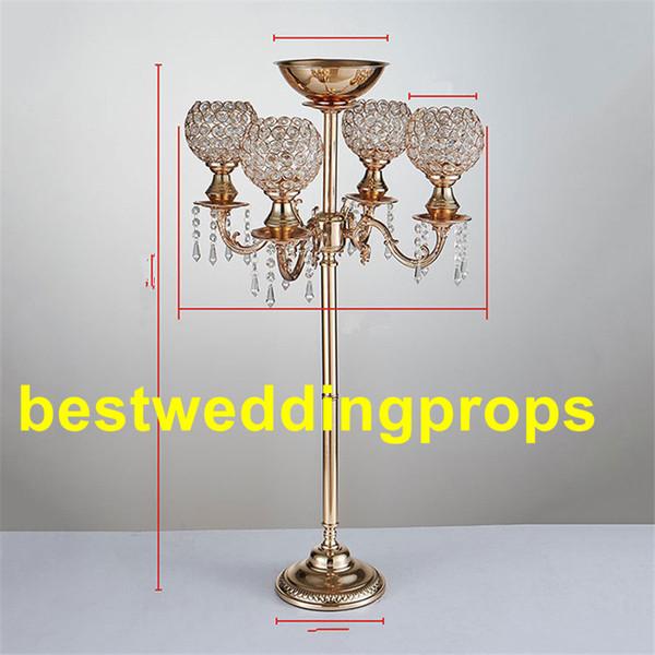 Yeni ürünler zarif Tall altın renk kristal çiçek düğün düğün için vazo düğün centerpieces moda parti dekorasyon best0022 standı