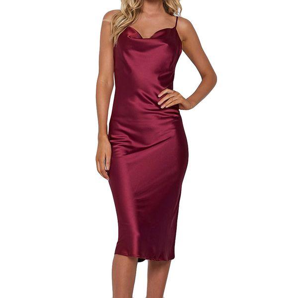Burgundy Sexy Party Dress Summer Women Cami Dresses Lady Open Back Satin Midi Spaghetti Strap Shift Dresses #EP