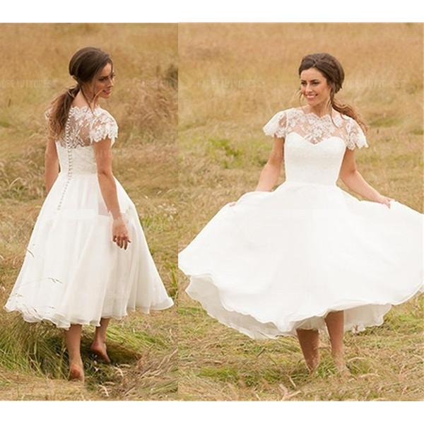 Vestidos de novia cortos Longitud del té Mangas casquillo Gasa Tul Apliques de encaje Botón de cubierta Vestido de novia Tallas grandes Por encargo