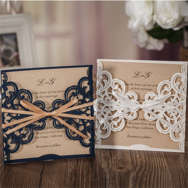 Blue Laser Cut Wedding Invitation Cards Free Custom Personalized Printing+Envelope 2017 Pattern Evening Party Invitation haifhaif