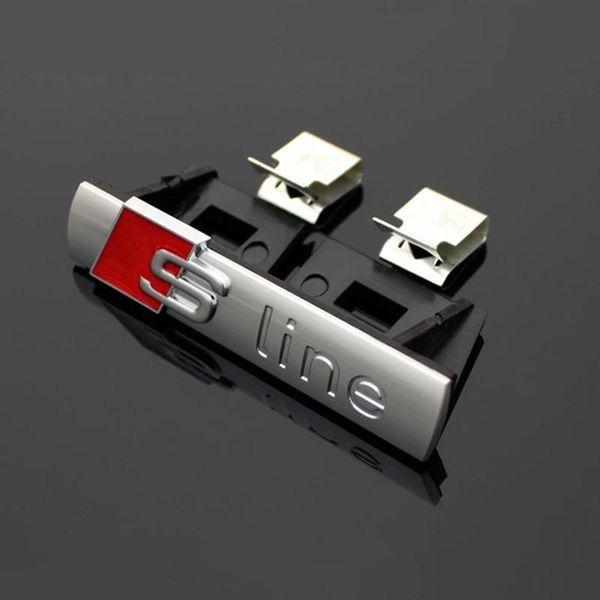 top popular 1 pcs S LINE Metal 3D Car Front Hood Grill Badge Grille Emblem Logo Race for Audi A1 A3 A4 A5 A6 A7 A8 Q3 Q5 Q7 TT 2021