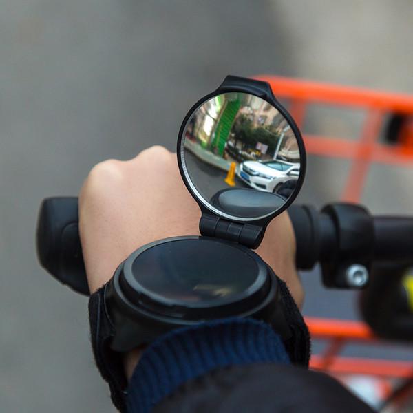 360 Degree Rotating Bike Back Mirror Cycling Wrist Band Strap Reflex Rear View Arm Wrist With Bicycle Reflector 36ma gg