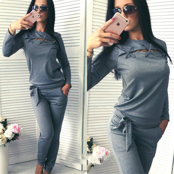 2 piece set women Europe and the United States women's new long-sleeved sweater two-piece casual sportswear suit two piece set NB-123