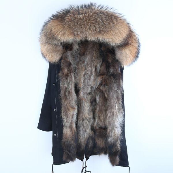 Real Fur Parka Men Winter Jacket Real Raccoon Fur Hooded Coats Nature Raccoon Dog Lining Jacket Man Real Fur Coat C18111201