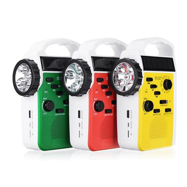 AM/FM Bluetooth Solar Hand Crank Dynamo Outdoor Radio With Speaker Emergency Receiver Mobile Power Supply 3 LED Flashlight Q0838