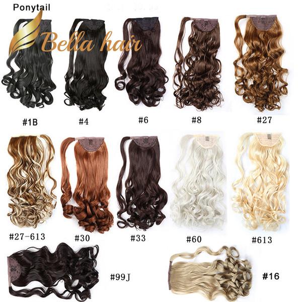 Bella Hair® Remy Extensiones de cabello de cola de caballo hechas a mano sintéticas Body Wave 20 pulgadas Color # 1B # 4 # 6 # 8 # 16 # 27 # 30 # 33 # 60 # 613 # 99J # 27/613 Julienchina